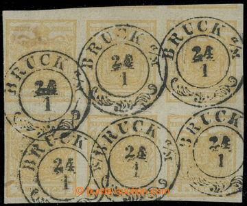 213777 - 1850 Ferch.1HIb, 6-blok Znak 1Kr Ib typ, ruční papír, OBO