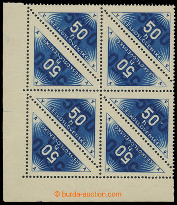 213807 - 1937 Pof.DR1B DČ, 50h modrá, levý dolní rohový 8-blok s část