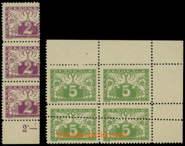 213811 - 1919 Pof.S1, S2, 2h červenofialová, svislá 3-páska výra