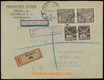 213856 - 1922 PRAHA - LONDÝN / R+Let-dopis zaslaný do Londýna, vyf