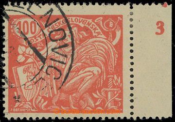 213863 -  Pof.173A, 100h červená s pravým okrajem a DČ 3, III. typ, Ř