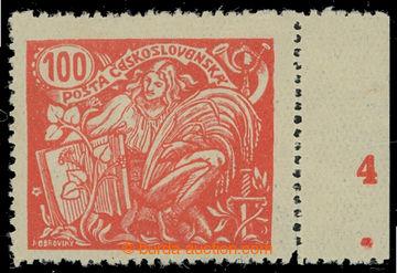 213866 -  Pof.173A, 100h červená s pravým okrajem a DČ 4, III. typ, Ř