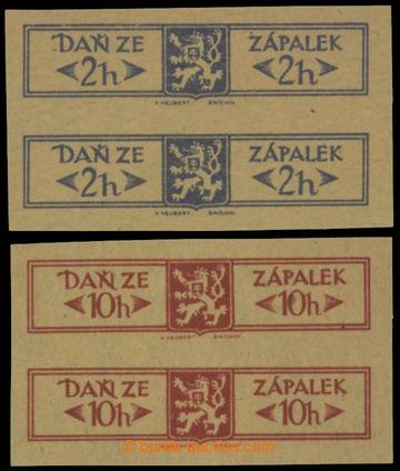 213964 - 1919 ČSR I. / DAŇ ZE ZÁPALEK  2ks 2-pásek daňových uza