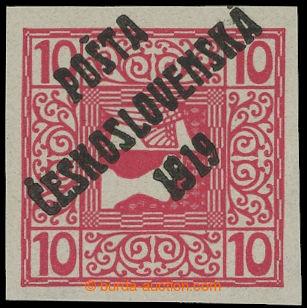 213968 -  Pof.59, Merkur vpravo 10h červená, III. typ přetisku; svěží