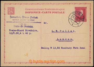 214062 - 1939 souběžná čs. dopisnice pro cizinu CDV44, TGM 1,50K�