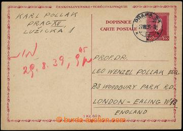 214065 - 1939 souběžná čs. dopisnice pro cizinu CDV51, TGM 1,50K�