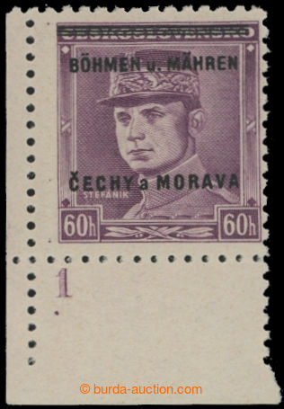 214248 - 1939 Pof.8, Štefánik 60h fialová, levý dolní rohový kus s DČ