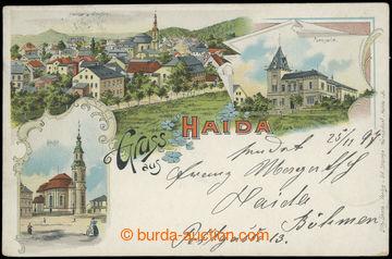 214296 - 1897 NOVÝ BOR (Haida) - 3-views lithography, Us, long addre