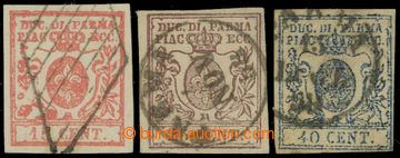 214331 - 1857 Sass.9-11, Bourbonská lilie 15C-40C; velmi pěkná a komp