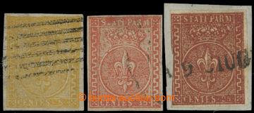 214337 - 1853 Sass.6-8, Bourbonská lilie 5C-25C; velmi pěkná kompl