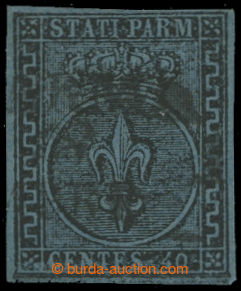 214340 - 1852 Sass.5a, Bourbonská lilie 40C šedomodrá; bezvadná kvali