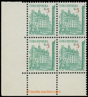 214368 - 1993 Pof.15, Plzeň 5Kč, levý dolní rohový 4-blok s VPO; svěž