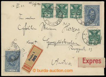 214483 - 1921 Reg and Express letter to Austria in IV. postal rate, f