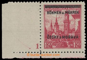 214544 - 1939 Pof.12, Banská Bystrica 1,50Kč červená, levý dolní roho