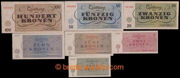 214626 - 1943 TEREZÍN 1-7, kompletní sada bankovek terezínského gheta