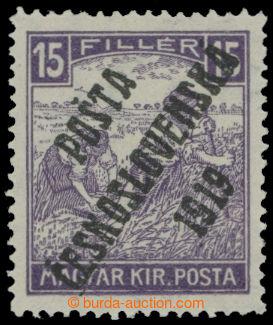 214736 -  Pof.100, Bílé číslice 15f fialová, II. typ přetisku; nepatr