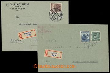 214745 - 1939 sestava 2ks firemních R dopisů vyfr. čs. souběžnými zn.