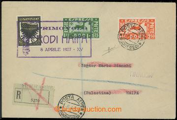 214868 - 1937 RHODOS / 1. let RHODOS - HAIFA, R+Let dopis vyfr. letec