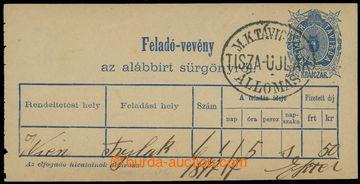 214883 - 1873 TISZA-ULJAK (Vylok) / potvrzení o doručení telegramu