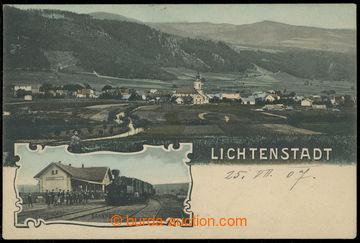 214946 - 1907 HROZNĚTÍN (Lichtenstadt) - nádraží a celkový pohled, li