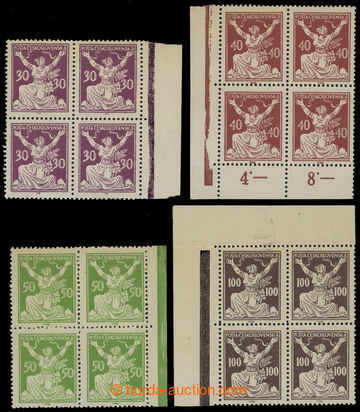 214959 -  Pof.153A-158A, sestava 4ks krajových 4-bloků hodnot 30h f