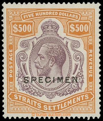 215000 - 1923 STRAITS SETTLEMENTS / SG.240ds, Jiří V. $500 tmavě f