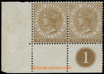 215008 - 1868 SG.11, Viktorie 2c hnědá, levá dolní rohová 2-pás