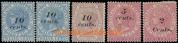 215011 - 1880-1883 SG.45, 45a, 46, 47, 61, přetiskové Viktorie 10c