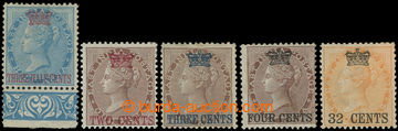 215013 - 1867 SG.1-4, 9, přetisková emise na indických známkách
