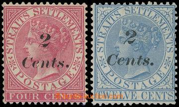 215120 - 1883 SG.61-62, přetiskové Viktorie 2c/4c růžová a 2c/12