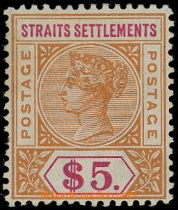 215135 - 1892-1899 SG.105, Viktorie $5 oranžová / karmínová, prů