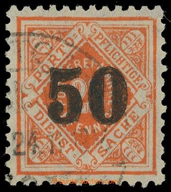 215214 -  WÜRTTEMBERG  služební Bezirksdienstmarke přetisk 50/25Pf or