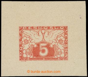 215261 - 1918 ZT  hlubotiskový zkusmý tisk hodnoty 5h, Pof.S2, v or
