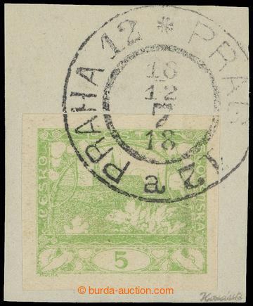 215344 - 1918 1. DEN VYDÁNÍ  výstřižek se zn. Hradčany 5h svět