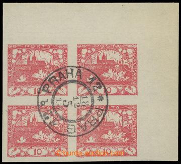 215415 - 1918 1. DEN VYDÁNÍ ČS. ZNÁMKY  rohový 4-blok zn. Hradč