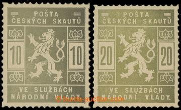 215600 - 1918 ZT  hodnoty 10h a 20h, dvojice v olivové barvě - obě