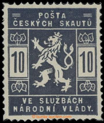 215615 - 1918 ZT  hodnoty 10h v modrofialové barvě; nálepka, zk. V