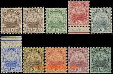 215709 - 1910-1925 SG.44-51, Loď ¼P - 1Sh, kompletní řada 9 zn. +