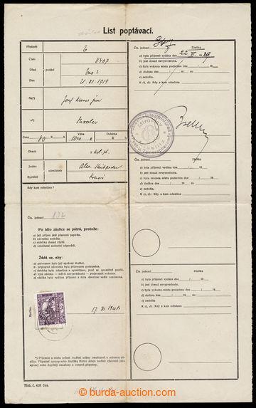 215849 - 1919 list poptávací s vylepenou zn. Hradčany 50h fialová