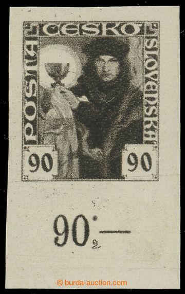 215891 -  Pof.163N, 90h černá nezoubkovaná, dolní krajový kus s