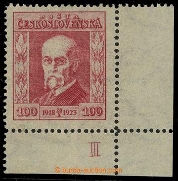 215897 - 1923 Pof.177 DČ, Jubilejní 100h červená, pravý dolní r