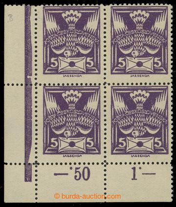 215906 -  Pof.144B, 5h fialová, levý dolní rohový 4-blok ze 100ks