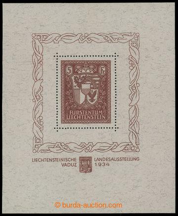 215985 - 1934 Mi.Bl.1, aršík Vaduz 5Fr, rozměr 103,5 x 125,5mm; ve