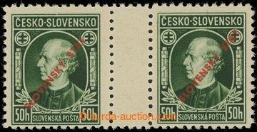 216034 - 1939 Sy.S23B, Hlinka 50h zelená, 2-zn. meziarší s ŘZ 10�