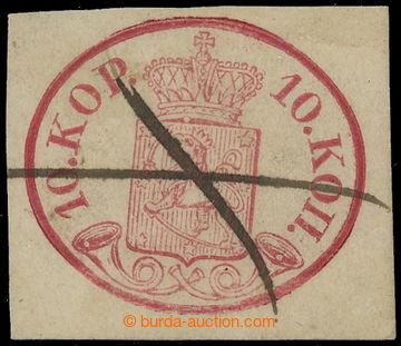 216089 - 1856 Mi.2x, Znak 10K karmínová s ručním škrtem; drobné
