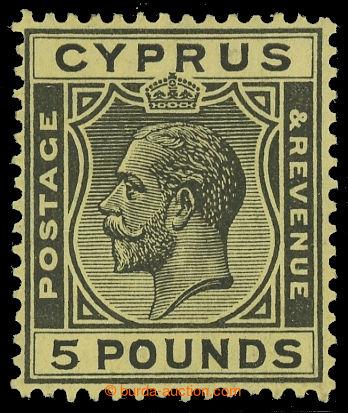 216135 - 1928 SG.117a, Jiří V. £5 černá / žlutá, průsvitka Mu