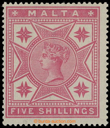 216168 - 1889 SG.30, Viktorie 5Sh růžová, průsvitka Crown CC; po