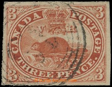 216268 - 1852-1859 SG.5, Bobr 3C červená, lehké kruhové raz., pln