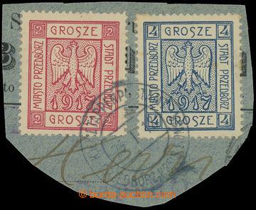 216298 - 1917 PREDBÓRZ / Fischer 1-2, Znak 2Gr a 4Gr na výstřižku