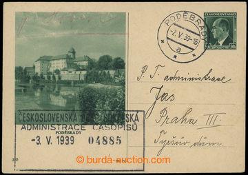 216352 - 1939 CDV72/110, obrazová dopisnice Beneš 50h Poděbrady, p